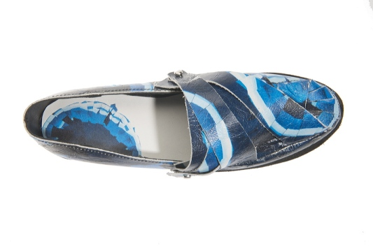 Printing leather to then shape it in a way that gives an exciting look to the classic shoe.