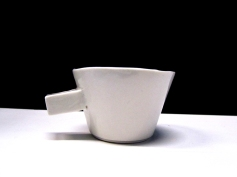 The first assignment of my Bachelors was redo an exciting cup in porcelain and change what you see needs improvement. This was my version of a espresso cup. Porcelain, year one ArtEZ